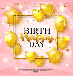 birthday greeting card on shiny pink background vector image
