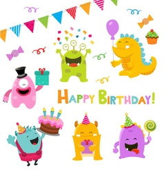 Birthday Monster Set vector image vector image