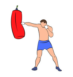 Boxer hitting the punching bag icon cartoon vector