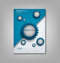 Brochures book or flyer with abstract blue gears vector