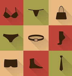 collection of silhouettes of underware and vector image