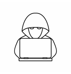 Computer hacker with laptop icon outline style vector