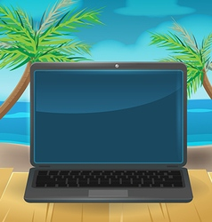 Computer Vacation Relax Beach vector image vector image