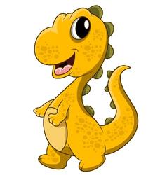 Cute yellow dinosaur cartoon vector