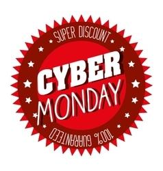 cyber monday emblem super discount vector image vector image
