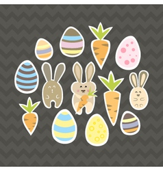 Easter set on a brown vector image