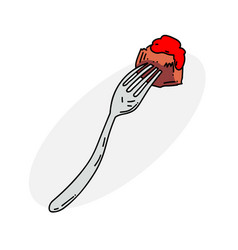 food on fork vector image vector image