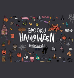 halloween doodle set creative design for vector image vector image