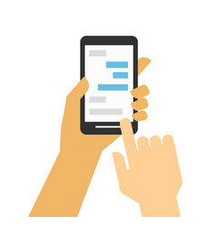 hand holding smartphone chat and messaging vector image