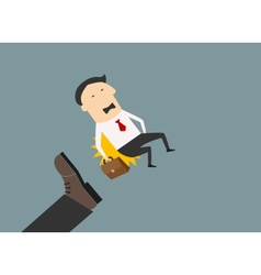 Kicked out businessman with briefcase vector image