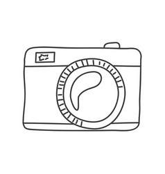 Monochrome contour of analog photo camera vector