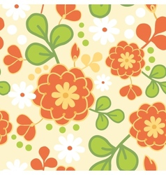 Orange kimono flowers seamless pattern background vector image vector image