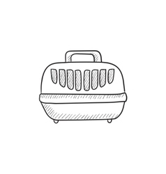 Pet carrier box sketch icon vector image vector image