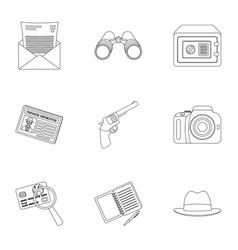 pistol tube identification magnifier and other vector image