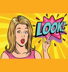 pop art kitsch woman look vector image vector image