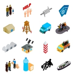 Refugees icons set isometric 3d style vector
