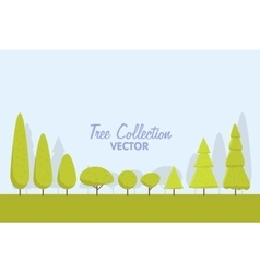 Set of abstract stylized trees natural vector