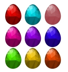 Set of Colorful Polygonal Easter Eggs vector image