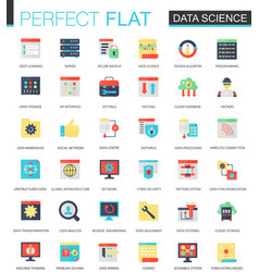 Set of flat data science big data vector