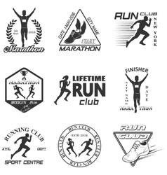 Set of vintage run club labels vector image