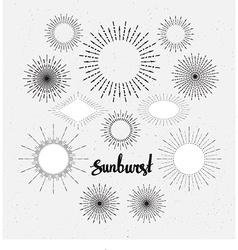 Set of vintage sunbursts hand-drawn hipster design vector