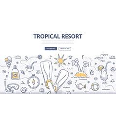 Tropical Resort Doodle Concept vector image vector image