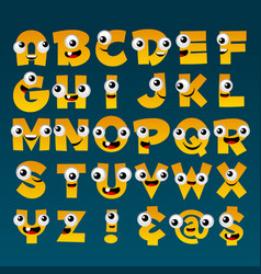 yellow cartoon alphabet vector image vector image