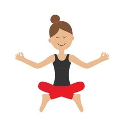 Young girl do yoga Cute cartoon woman character vector image vector image