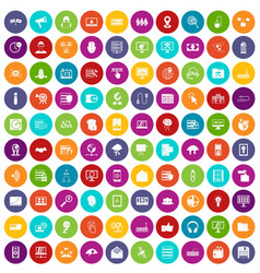 100 cyber security icons set color vector