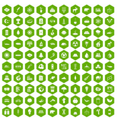 100 eco icons hexagon green vector