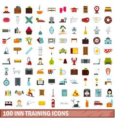 100 inn training icons set flat style vector