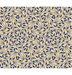 Seamless leaves pattern on beige background vector