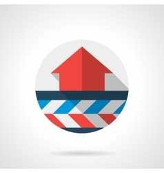 Air heating system round flat design icon vector