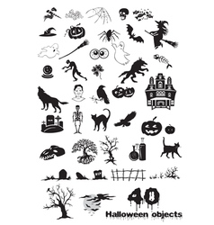 40 halloween objects vector