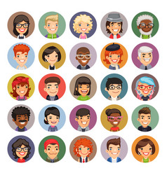Flat cartoon round avatars on color vector