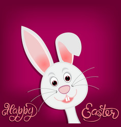 happy easter easter bunny on purple background vector image