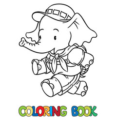 running little baby elephant coloring book scout vector image