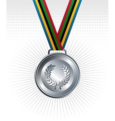 Silver medal ribbons background vector