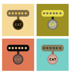 assembly flat icons cat collar vector image