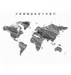 World map drawing pencil sketch vector