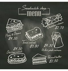 Sandwich doodle menu drawing on chalk board vector