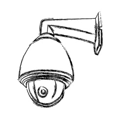 Black and white surveillance camera cctv vector