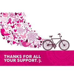 Breast cancer awareness health bike pink elements vector