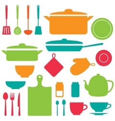 Silhouettes of kitchen tools vector