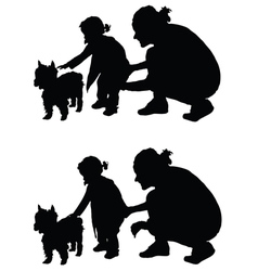 Children with dog and mother silhouette vector