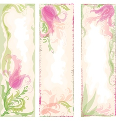 Set of floral backgrounds with tulips vector