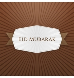 Eid mubarak tag with ribbon vector