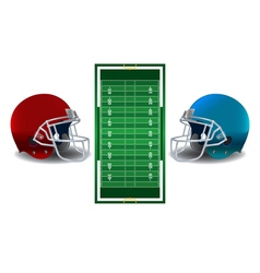 American football helmets and field vector