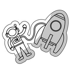 Astronaut rocket exploration outline vector