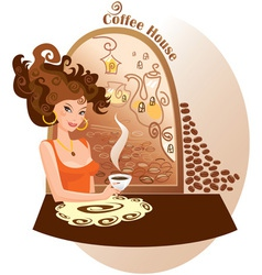 Beautiful girl into coffee house vector image